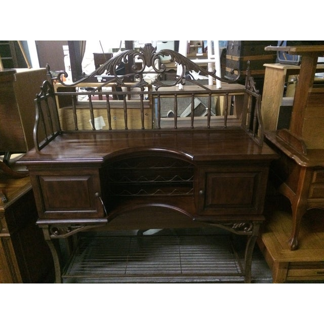 Beautiful Wrought Iron & Dark Wood Buffet - Image 3 of 10