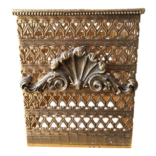 Mid-Century Ormolu Filigree Brass Tissue Box Cover