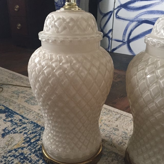 White Glass Quilted Ginger Jar Lamps - A Pair - Image 6 of 11