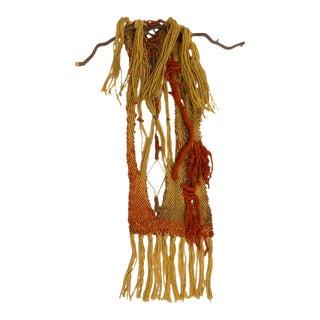 Mid-Century Artisan Yarn Textile Weaving Wall Hanging