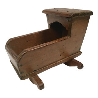 Antique Hand Crafted Carved Wood Doll Cradle