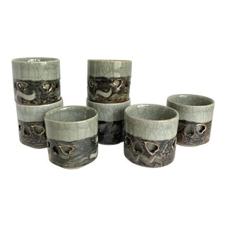 Vintage Hand Painted Asian Mugs - Set of 7
