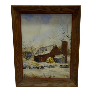 1967 The Barn by B. Fisk Original Painting on Board