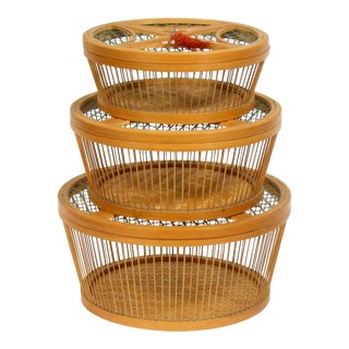 Japanese Lidded Nesting Baskets - Set of 3