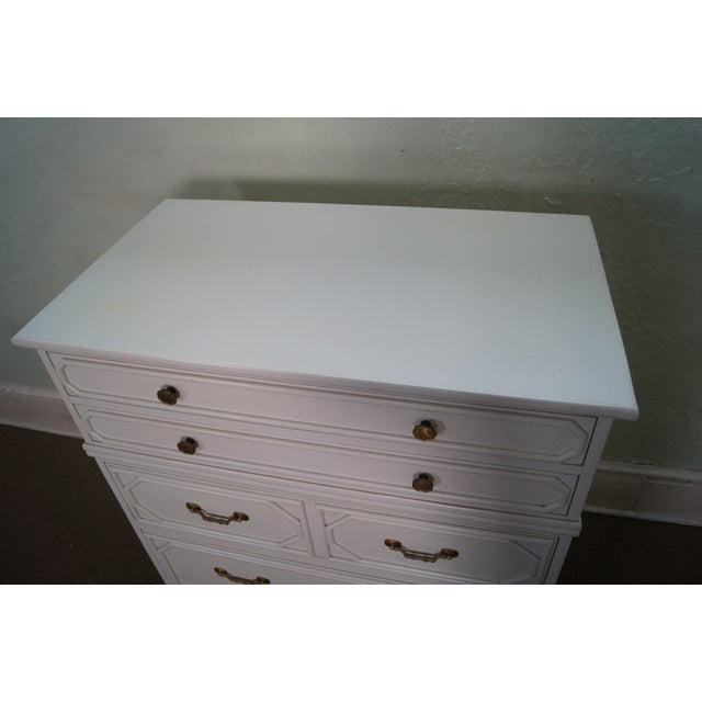 Image of Ficks Reed White Painted Rattan Bamboo Tall Chest