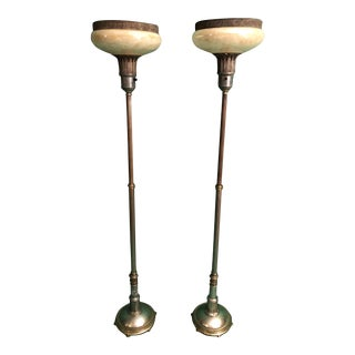 Adjustable Art Deco Funerary Torchieres - A Pair