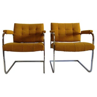 1970's Flat Bar Chrome Upholstered Chairs - Pair