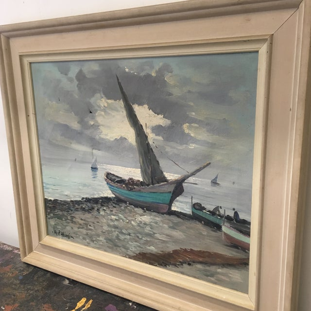 Vintage Nautical Oil Seascape - Image 4 of 11