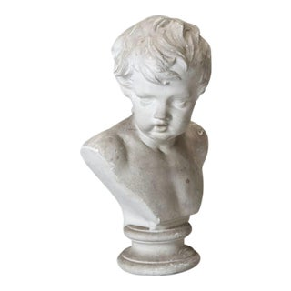 Belgian Molded Plaster Sculptural Bust of Young Boy