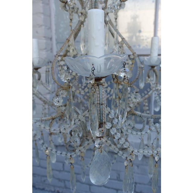 Image of Italian Crystal Beaded Six-Light Chandelier