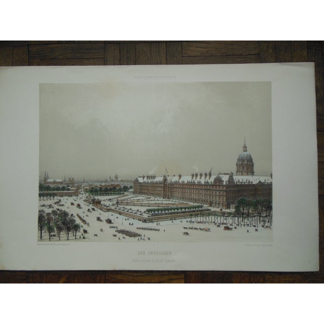 Image of Antique Folio Size Lithograph View of Paris