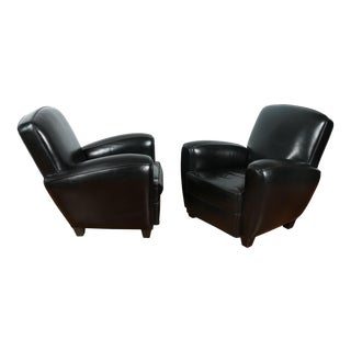 Black Leather Club Chairs - Pair