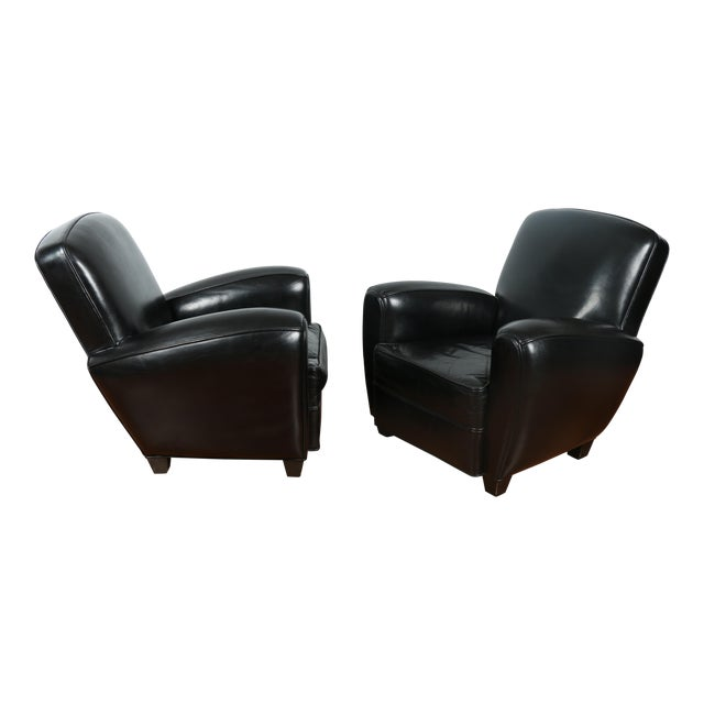 Image of Black Leather Club Chairs - Pair