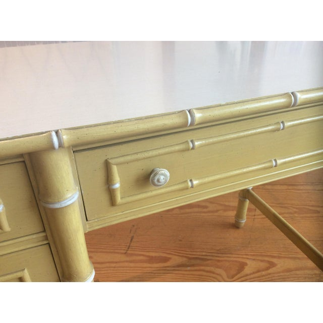 Thomasville Vintage Faux Bamboo Desk - Image 4 of 9