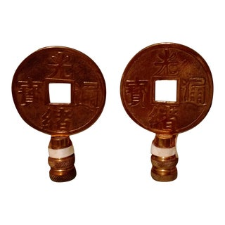 Asian Brass Lamp Finials - A Pair