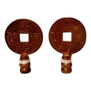 Asian Brass Lamp Finials - A Pair