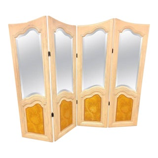 Hollywood Regency Four Panel Painted Mirror / Room Divider