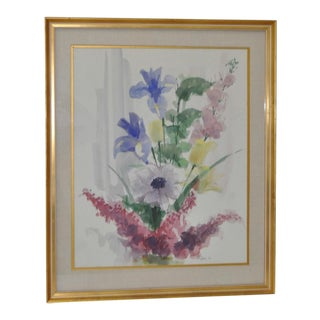 Mid Century Floral Bouquet Watercolor c.1957