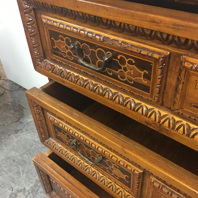 Image of Vintage Carved & Inlaid 4 Drawer Dresser
