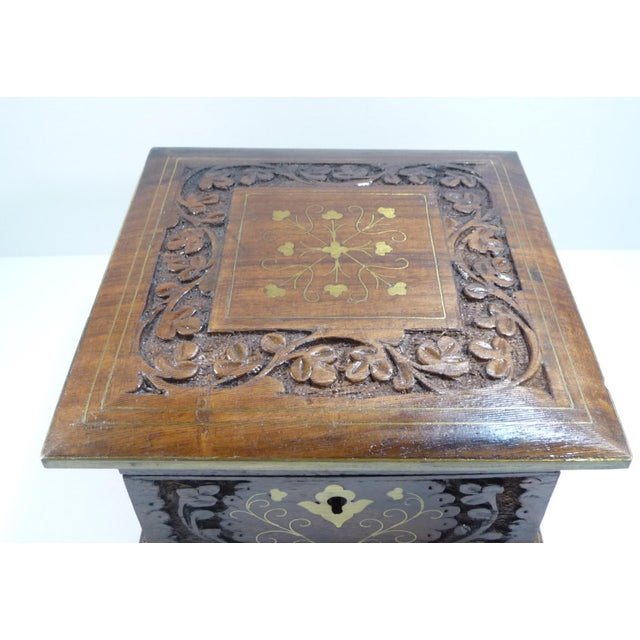 Vintage Square Carved Wood Box - Image 5 of 11