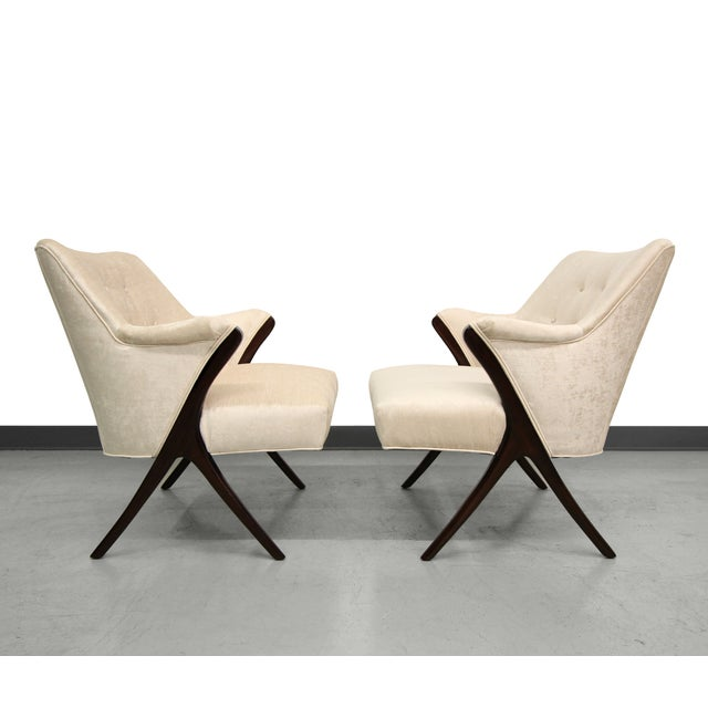 Karpen-Style Mid-Century Scissor Chairs - A Pair - Image 2 of 8