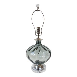 Smoky Grey Faceted Glass Table Lamp