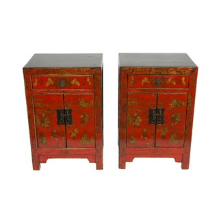 Red Beijing Accent Cabinets - a Pair