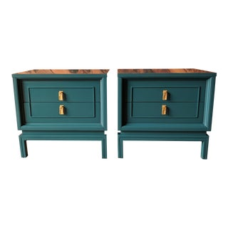 American of Martinsville Lacquered Hollywood Regency Nightstands - a Pair