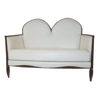 1920's French Art Deco Leather Loveseat