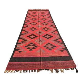"""Vintage Afghani Flat Weave Kilim - 4'3"""" X 15'4"""""""