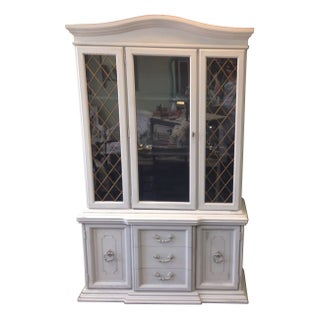 Vintage Gray Painted China Cabinet