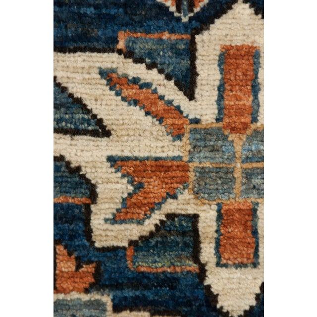 "Serapi Blue & Tan Hand-Knotted Runner - 3' 7"" X 11' 8"" - Image 3 of 3"