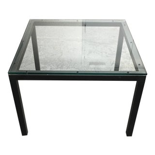 Room & Board Glass & Steel Parsons Side Table