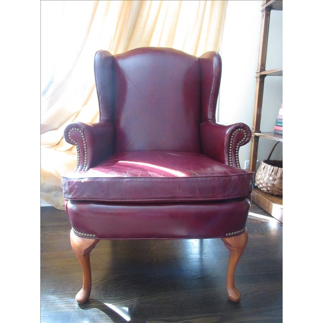 Red Leather Wingback Chair For Sale: Hickory Furniture Red Leather Wing Chair