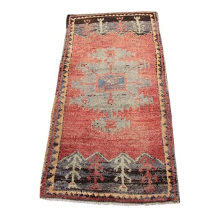 Mid-20th C. Vintage Antique Tribal Oushak Hand Knotted Turkish Rug - 1'8 X 3'5