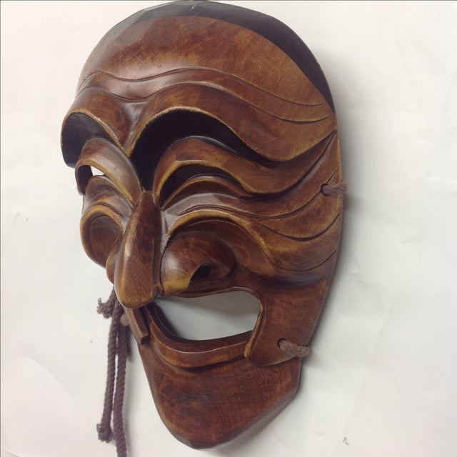 Vintage Japanese Carved Boxwood Theatre Mask - Image 4 of 6