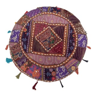 Vintage Embroidered Pouf Pillow