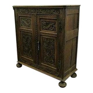 17th-Century Welsh Carved Oak Cupboard