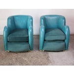 Image of Scandinavian Deco Club Chairs in Blue Leather and Velvet
