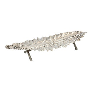 Leaf Shaped Silver Plate Cucumber Tray