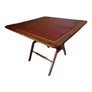 Antique Folding Game Table with Red Leather Top-Circa 1800's