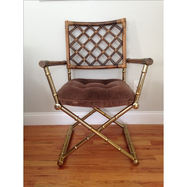 Faux Bamboo Brass & Rattan Chairs - Set of 4 - Image 4 of 6