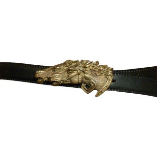 Gucci 1970's Belt Horses Leather Collectable