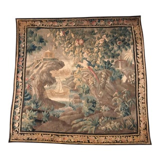 18th Century French Verdure Aubusson Tapestry With Castle Scene