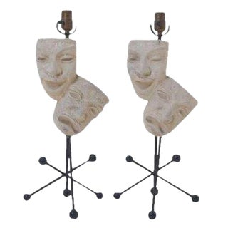 Pair of Frederic Weinberg Comedy and Tragedy Table Lamps