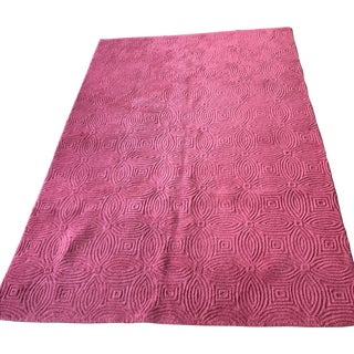 Company C Dark Pink Patterned Rug - 6′ × 9′