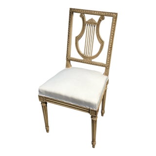 Painted Antique French Leer Back Chair