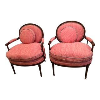 Louis XVI Style Bergere Arm Chairs - A Pair