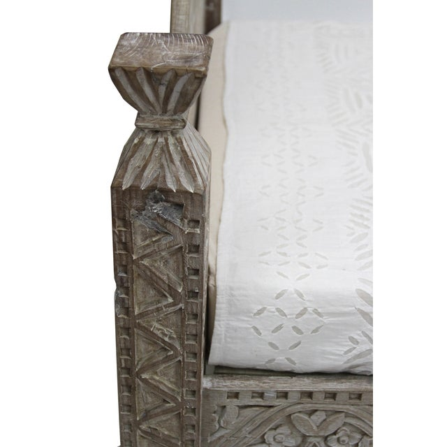Syrian Whitewashed Daybed with Floral Details - Image 7 of 7