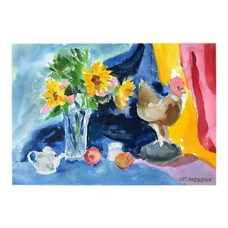 Rooster & Sunflowers by Les Anderson